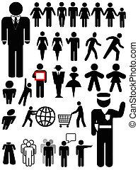 persona, simbolo, set, silhouette