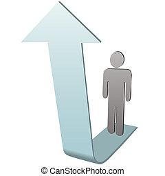 persona, simbolo, su, successo, freccia