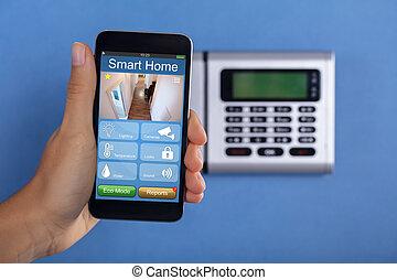 persona, telefono mobile, domanda, presa a terra, sicurezza casa