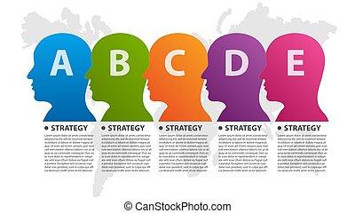 persona, testa, o, arrows., affari, disposizione, presentazioni, bandiera, chart., vettore, workflow, informazioni, circolare, flusso, infographic., infographics