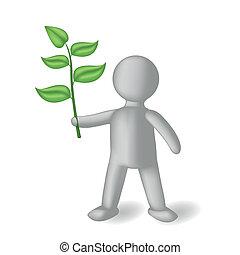 persona, verde, ramo, 3d