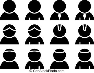 persona, vettore, nero, icone