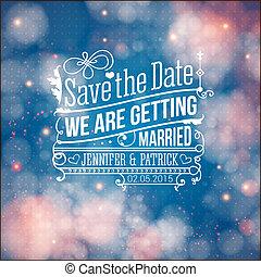 personale, holiday., invitation., vettore, matrimonio, data, risparmiare