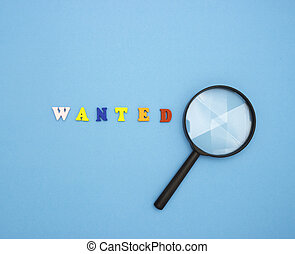 personale, legno, work., ingrandendo, desiderato, lettere, sfondo colorato, vetro., parola, blu, ricerca