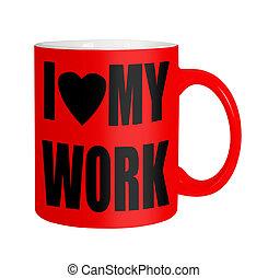 personale, personale, sopra, felice, lavorante, -, isolato, rosso, tazza, bianco