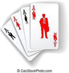 persone affari, addirsi, cartelle, gioco, risorse