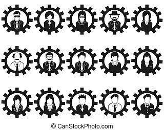 persone affari, avatar, ingranaggio, icone
