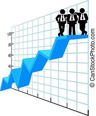 persone affari, cima, curva delle vendite, squadra