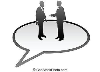 persone affari, comunicazione, dentro, bolla discorso, discorso