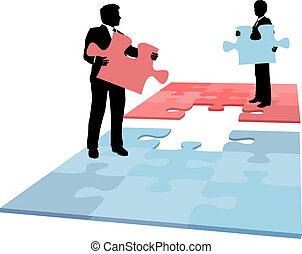 persone affari, fusione, collaborazione, soluzione, pezzo, puzzle