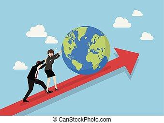 persone affari, grafico, spingendo, mondo