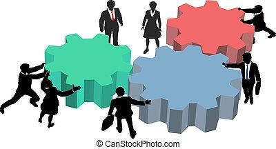 persone affari, lavoro, insieme, piano, tecnologia