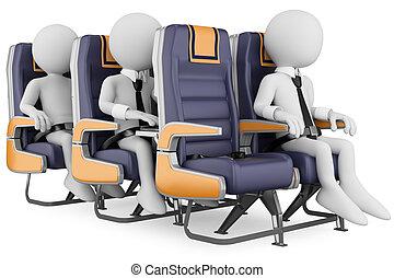 persone affari, persone., aria, bianco, viaggiare, 3d