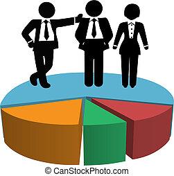 persone affari, profitto, grafico, torta, vendite, crescita, squadra