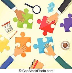 persone affari, puzzle, mani, scrivania, fabbricazione