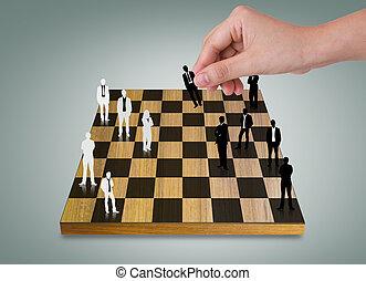 persone affari, silhouette, mano, gioco, scacchi, gioco