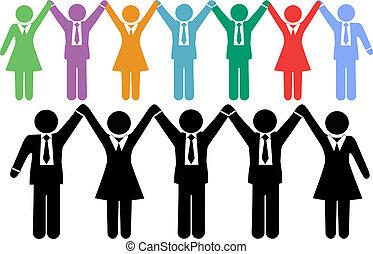 persone affari, simboli, tenere mani, celebrare