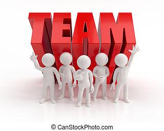 persone, affidabile, -, squadra, piccolo, 3d