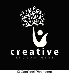 persone, albero, vettore, sagoma, logotipo, icona