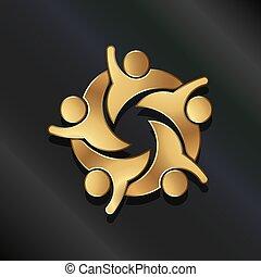 persone, altro., lavoro squadra, hi5, porzione, icona, vettore, cinque, gruppo, ciascuno