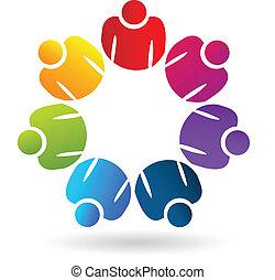 persone, app, lavoro squadra, sociale, logotipo