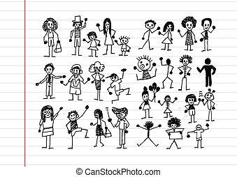 persone, attività, icone, illustrazione
