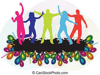 persone, ballo, -, giovane, fondo, festa
