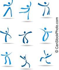 persone, ballo, icone