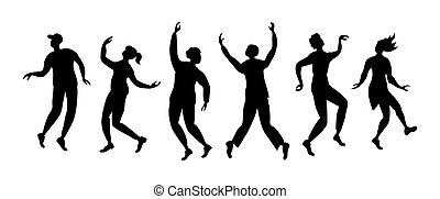 persone, ballo, orizzontale, silhouette, bandiera
