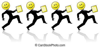 persone, ballo, passo, alto, smiley, squadra affari