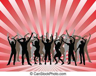 persone, ballo, silhouette, -, vettore