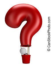 persone, -, balloon, domanda, piccolo, 3d