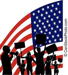 persone, bandiera americana, protestare