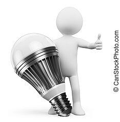 persone., bianco, condotto, lampada, 3d