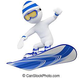 persone., bianco, snowboard, 3d
