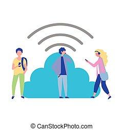 persone, calcolo mobile, collegamento, usando, nuvola