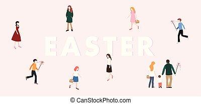 persone, ceco, primavera, moderno, slovacco, disegno, frusta, web, banner., concept., famiglia, ragazze, pasqua, europeo, appartamento, colorito, ragazzi, tradition., inseguire, illustration., camminare., vettore, eggs.