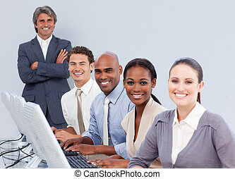 persone, centro, positivo, affari, lavorativo, chiamata