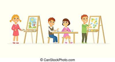 persone, classe, -, isolato, illustrazione, cartone animato, caratteri, disegno, bambini