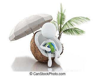 persone, coconut., concept., seduta, vacaction, spiaggia bianca, 3d