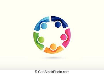 persone, collaborazione, squadra, porzione, tenere mani, logotipo