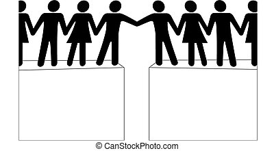 persone, collegare, unire, portata, insieme, gruppi
