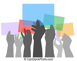 persone colorano, molti, spazi, tenere mani