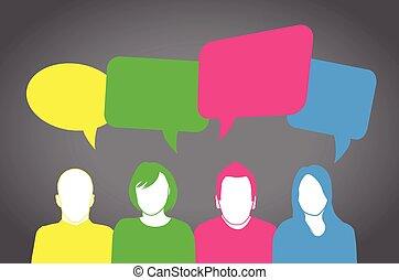 persone, colorito, parlante