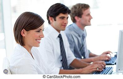 persone, computer, affari, lavorativo, concentrati