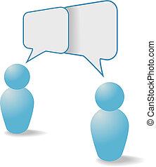 persone, comunicazione, azione, simboli, discorso, bolle, discorso