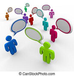 persone, comunicazione, -, disorganizzato, parlante, una volta