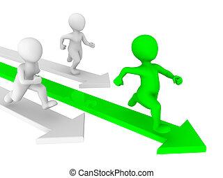 persone, concept., concorrenza, piccolo, runs., 3d
