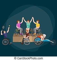 persone, concetto, atleta, isolato, concorrenza, protesi, invalido, protesi, invalido, attività, sport, fisico