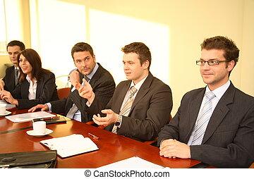 persone, conferenza, affari, cinque